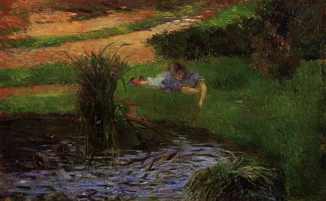 Pond with Ducks. Girl Amusing Herself 1881
